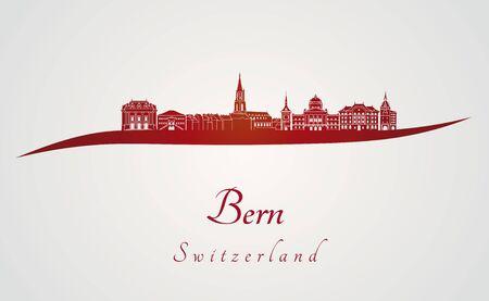 Skyline Berne en arrière-plan rouge et gris Banque d'images - 47824876