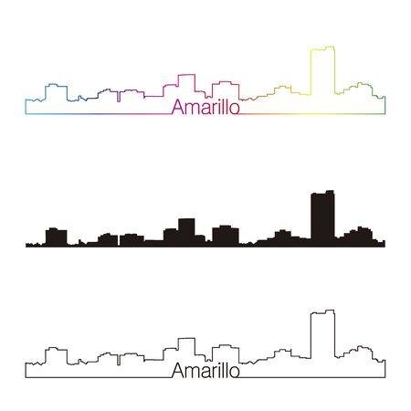 Amarillo skyline linear style Illustration