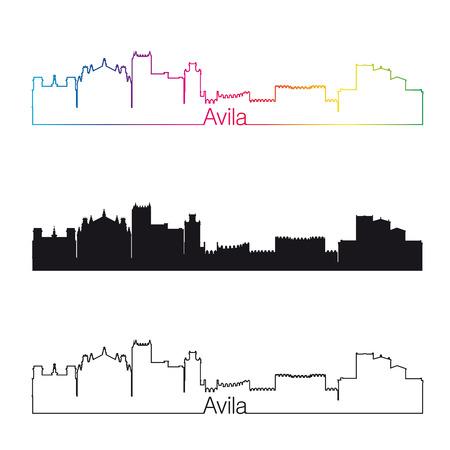 avila: Avila skyline linear style with rainbow Illustration