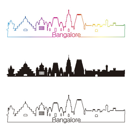 Bangalore skyline linear style with rainbow in editable vector file