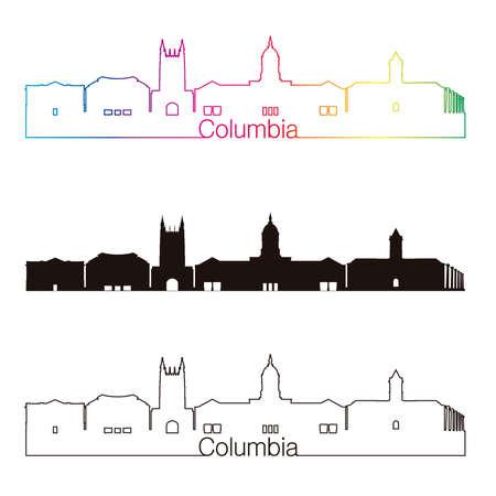 Columbia skyline linear style with rainbow Ilustrace