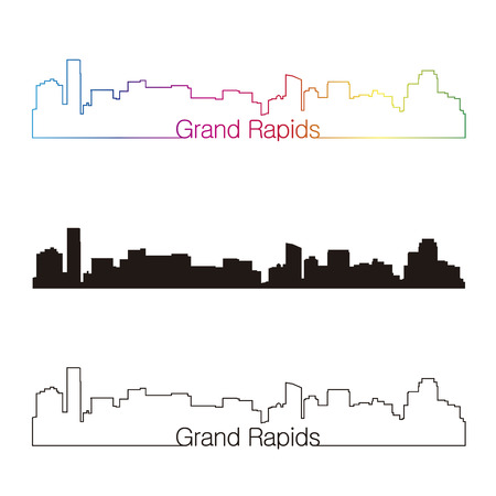 grand rapids: Grand Rapids skyline linear style with rainbow