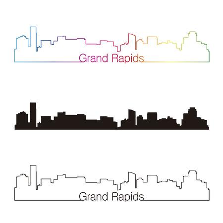 Grand Rapids skyline linear style with rainbow