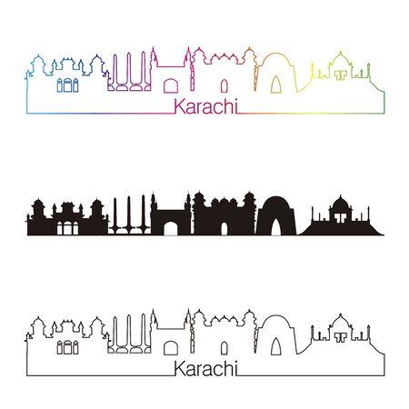 karachi: Karachi skyline linear style with rainbow