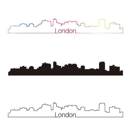 london skyline: London skyline linear style with rainbow