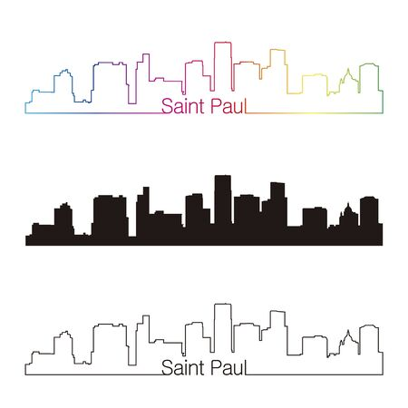 paul: Saint Paul skyline linear style with rainbow in editable vector file Illustration