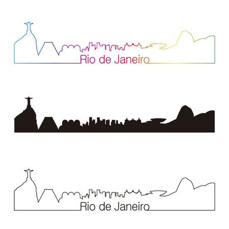 america del sur: Estilo horizonte lineal Río de Janeiro con el arco iris Vectores