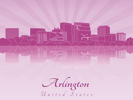 radiant: Arlington skyline in purple radiant orchid Illustration