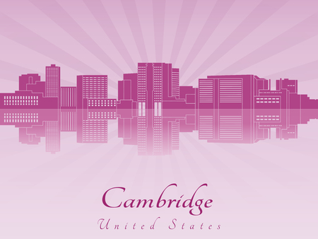 Cambridge skyline in purple radiant orchid in editable vector file