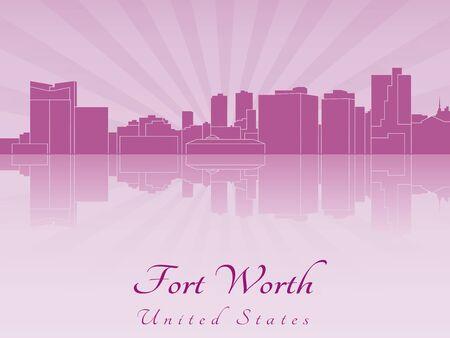 Fort Worth skyline in purple radiant orchid Illustration