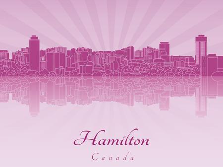 hamilton: Hamilton skyline in purple radiant orchid Illustration
