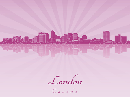 London skyline in purple radiant orchid in editable vector file