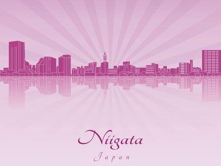 radiant: Niigata skyline in purple radiant orchid in editable vector file