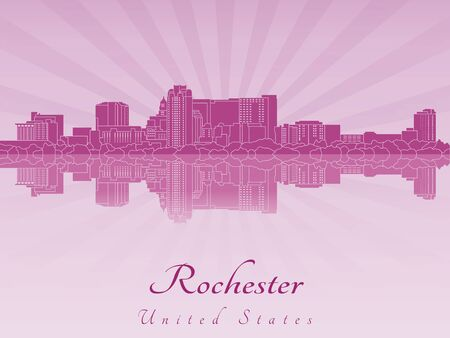Rochester skyline in purple radiant orchid in editable vector file