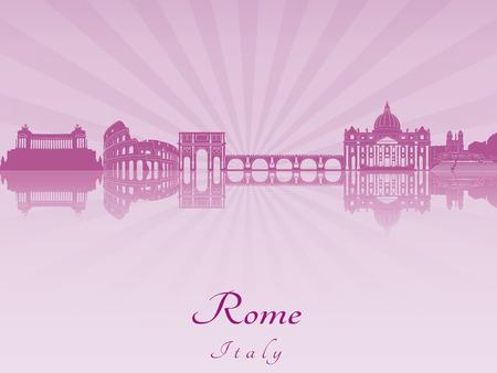 Rome skyline in purple radiant orchid Illustration