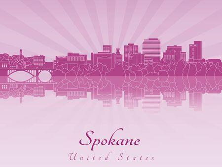 radiant: Spokane skyline in purple radiant orchid