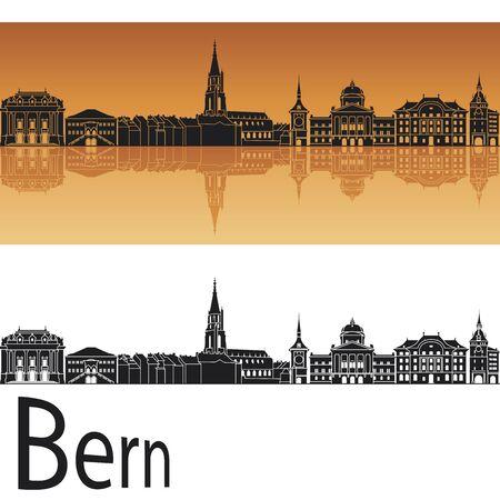 Skyline Berne fond orange Banque d'images - 47825402