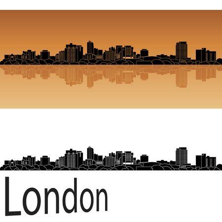london skyline: London skyline in orange background