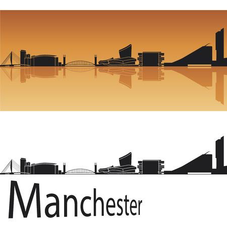 Manchester skyline in orange background