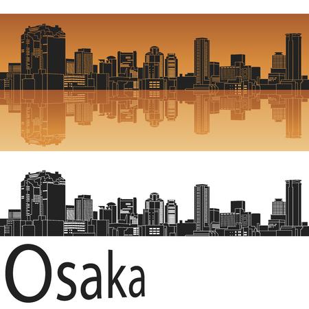 オレンジ色の背景で大阪の街並み