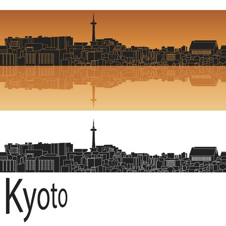Kyoto skyline in orange background in editable vector file Иллюстрация