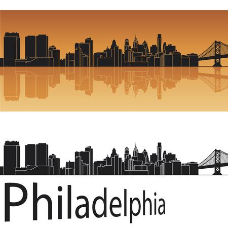 Philadelphia skyline in orange background   イラスト・ベクター素材
