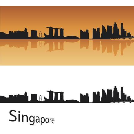 singapore cityscape: Singapore skyline in orange background Illustration