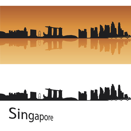 Singapore skyline in orange background Illustration