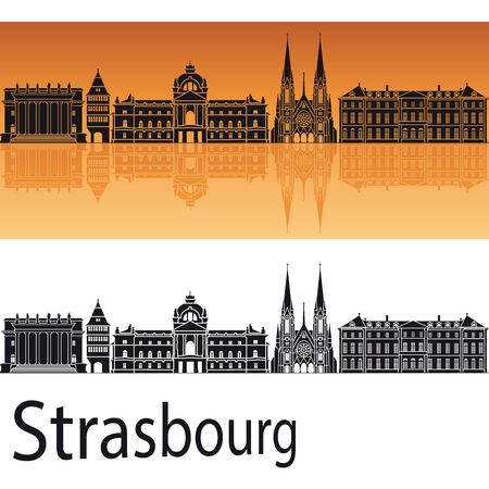 strasbourg: Strasbourg skyline in orange background