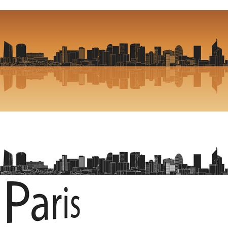 paris skyline: Paris skyline in orange background