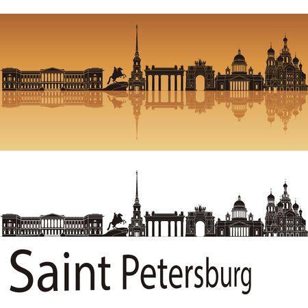 saint petersburg: Saint Petersburg skyline in orange background Illustration