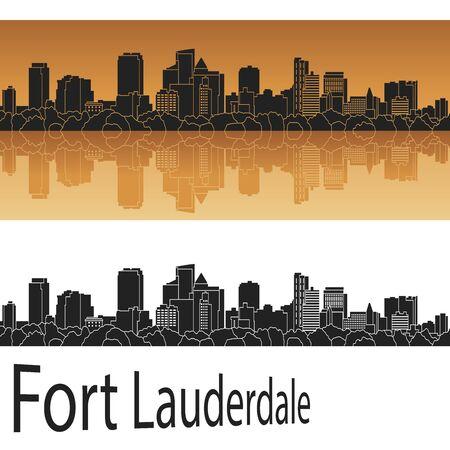 Fort Lauderdale skyline in orange background