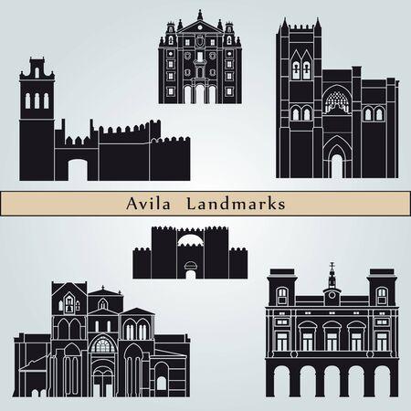 monuments: Avila landmarks and monuments isolated on blue background