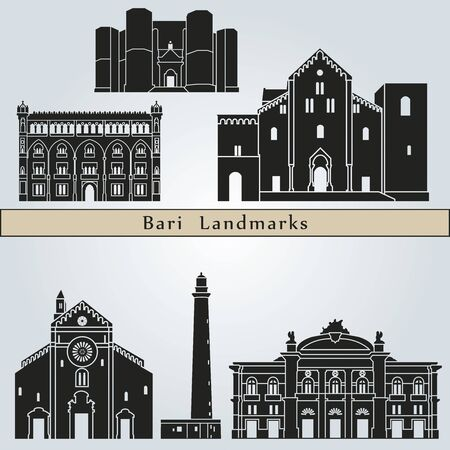 monuments: Bari landmarks and monuments isolated on blue background in editable vector file