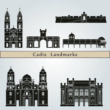 monuments: Cadiz landmarks and monuments isolated on blue background