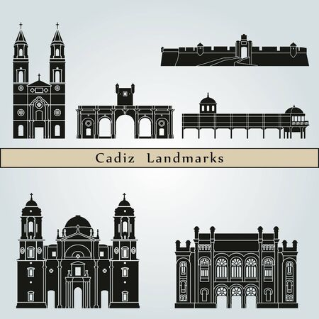Cadiz landmarks and monuments isolated on blue background