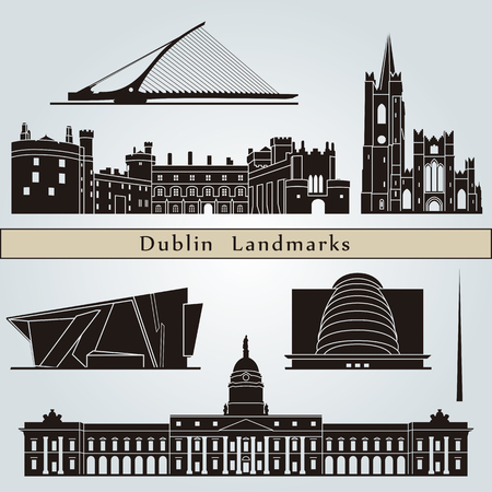 ireland cities: Dublin landmarks and monuments isolated on blue background