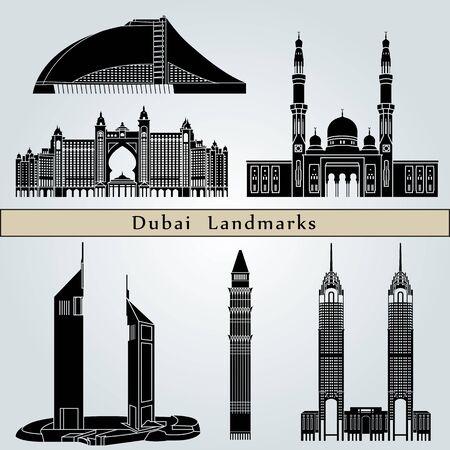 monuments: Dubai landmarks and monuments isolated on blue background