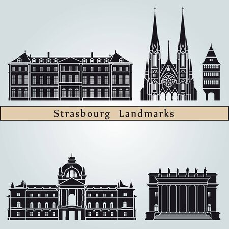 strasbourg: Strasbourg landmarks and monuments isolated on blue background in editable vector file
