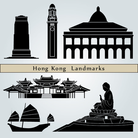 HONG KONG: Hong Kong landmarks and monuments isolated on blue background