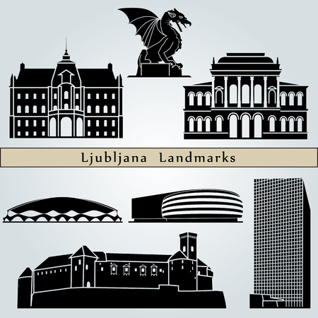 monuments: Ljubljana landmarks and monuments isolated on blue background in editable vector file