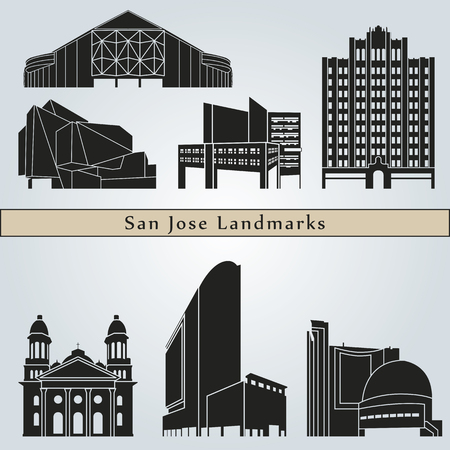 monuments: San Jose landmarks and monuments isolated on blue background
