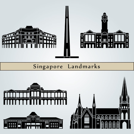 singapore city: Singapore landmarks and monuments isolated on blue background