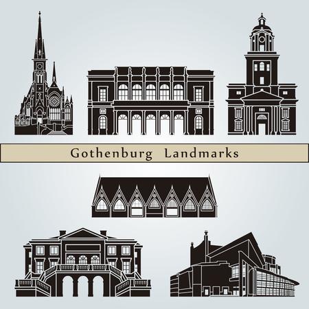 Gothenburg landmarks and monuments isolated on blue background