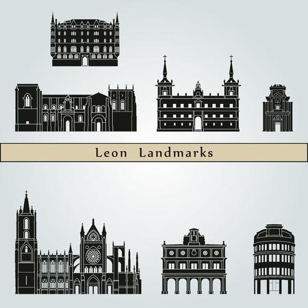 Leon landmarks and monuments isolated on blue background