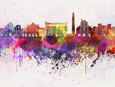 monuments: Bari skyline in watercolor background