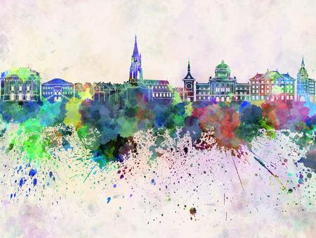 Skyline Berne en fond d'aquarelle Banque d'images - 47825567