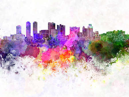 colombo: Colombo skyline in watercolor background Stock Photo