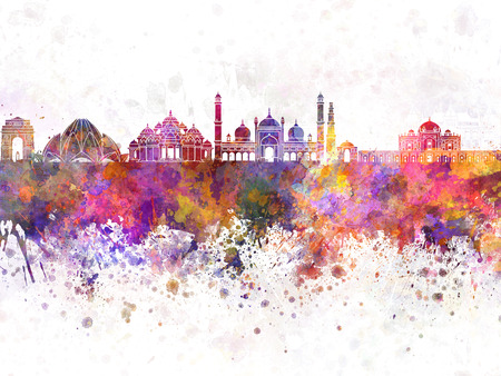 Delhi skyline in watercolor background Stock Photo