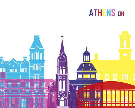 Athens OH skyline pop in editable vector file
